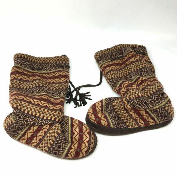 Muk Luks Brown Faux Fur Lace Up Slipper Sock Boots